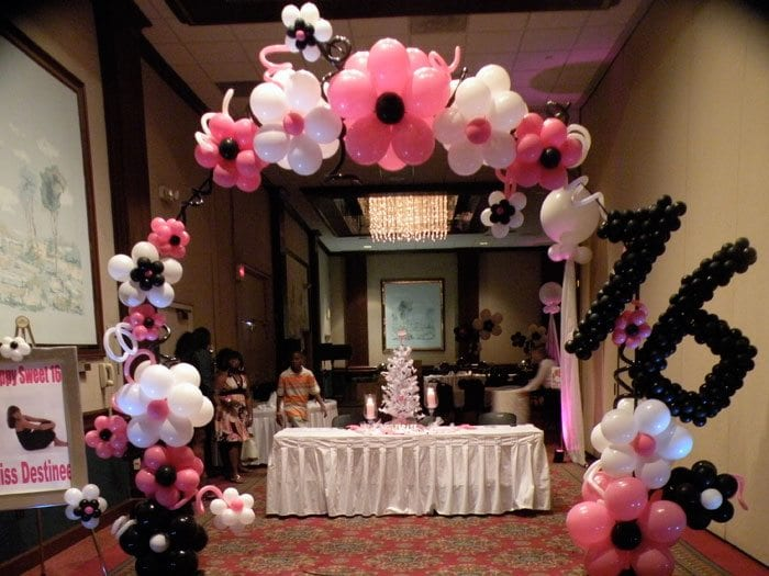 Sweet 16 balloon decorations for birthday party for Balloon decoration ideas for quinceaneras