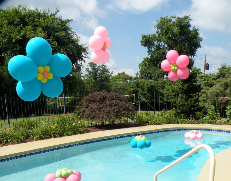 Party decor knoxville parties balloons above the for Pool decorations